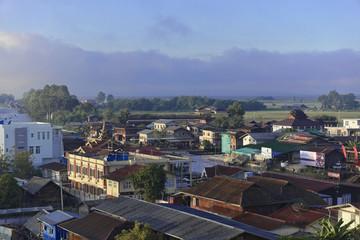 Aussicht vom Hotel auf Nyaungshwe, Inle-See, Shan-Staat, Myanmar, Asien