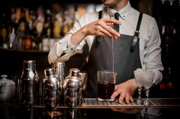 Bartender stirring fresh summer alcoholic cocktail in glass