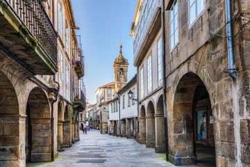 Keuken foto achterwand Smal steegje Narrow street in old town Santiago de Compostela, Galicia, Spain.