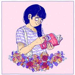 quiet woman reading book cute reader girl