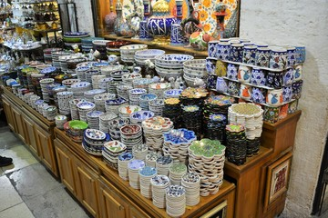 Traditional Turkish ceramic plates and bowls