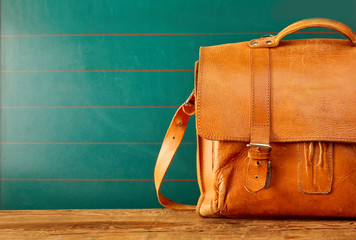 Leather backpack case with copy space