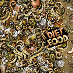 Cartoon vector doodles diet food frame