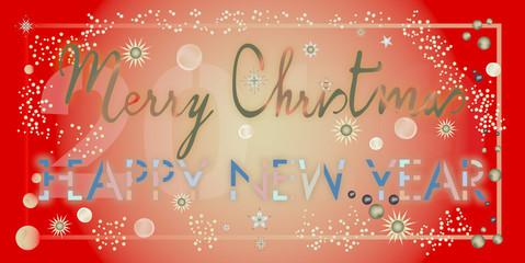 Carte pour souhaiter un Joyeux Noël et une bonne année en anglais sur un fond dégradé en rouge