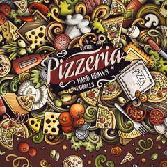 Cartoon vector doodles Pizza frame
