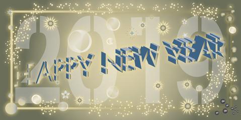 Typographie en 3D pour souhaiter en anglais une bonne année 2019 sur un fond doré