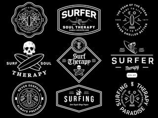 White on black surf badges vol. 1