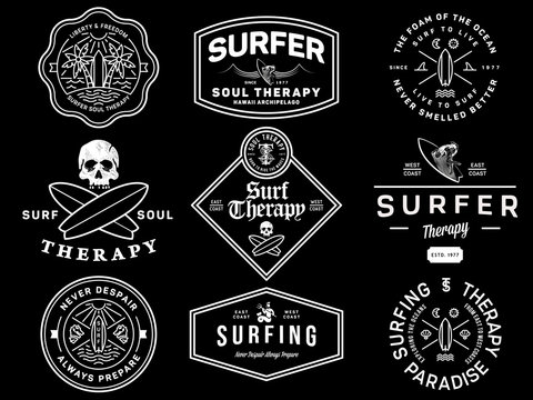 White on black surf badges vol. 1