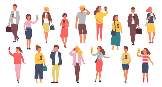 Man and woman characters with mobile phones. Crowd of people holding smartphones. Vector illustration