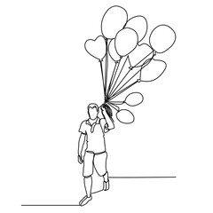 Man with  bunch of balloons in  hand. Continuous drawing with one line. Vector.