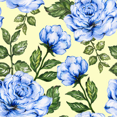 Romantic floral seamless  pattern bouquet rose blue flowers and plant