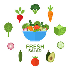 Fresh salad in bowl for vegetarian menu and healthy food advertising. Salad bar. Salad ingredients. Applicable food concept in flat style. Vector illustration