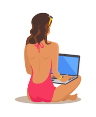 Freelance Woman and Laptop Vector Illustration