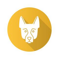 German Shepherd flat design long shadow glyph icon