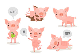 Canvas Print - Pigs hand drawn style, cute funny characters.