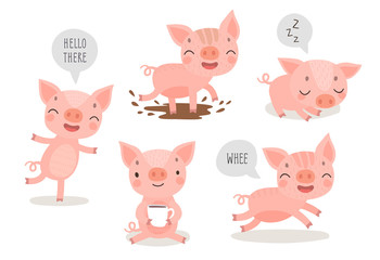 Wall Mural - Pigs hand drawn style, cute funny characters.
