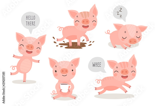 Wall mural Pigs hand drawn style, cute funny characters.