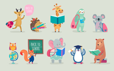 Back to school Animals hand drawn style, education theme. Cute characters. Bear, sloth, penguin, elephant, and others.
