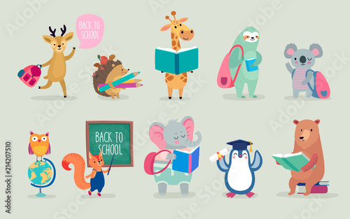 Wall mural Back to school Animals hand drawn style, education theme. Cute characters. Bear, sloth, penguin, elephant, and others.