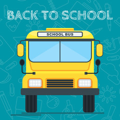 Yellow school bus on a blue background. Education and schooling. Poster for advertising educational institutions, courses and trainings. Flat illustration