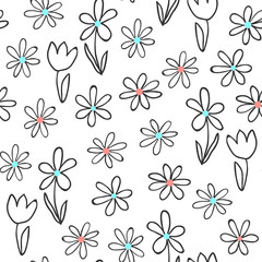 Fototapete - Seamless pattern with doodle flowers