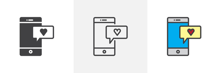 Smartphone with heart message icon. Line, solid and filled outline colorful version, outline and filled vector sign. Love chat symbol, logo illustration. Different style icons set. Pixel perfect