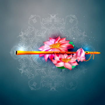 Vector concept hare krishna lotus and flute.