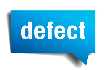 defect blue 3d speech bubble