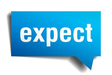 expect blue 3d speech bubble