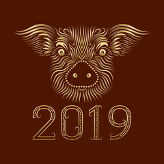 2019 New Year of Chinese horoscope greeting card with patterned golden pig muzzle.