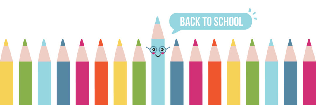 Back to school vector horizontal illustration, banner, header with cute colored pencils.