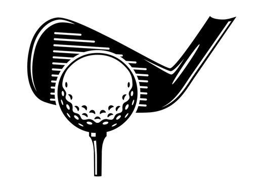 Golfball auf Tee mit Eisen beim Abschlag / schwarz-weiß / Vektor / Icon