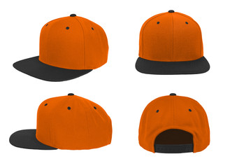 Blank baseball snap back cap two tone color orange/black on white background