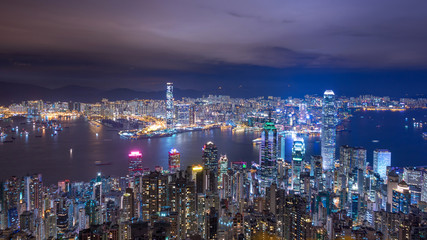 Hong Kong city skyline view at night from The Peak