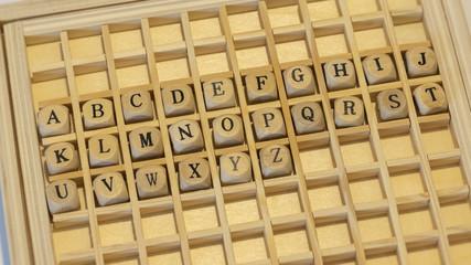wooden dice alphabet