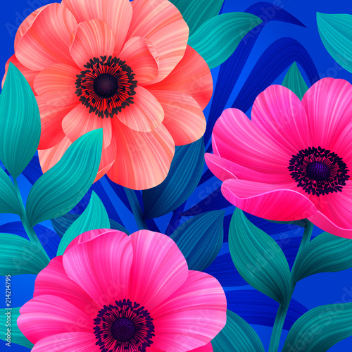 Luminous tropical background with pink and coral flowers. Beautiful anemones and leaves on blue background. Trendy design for wallpapers, screensavers, ...