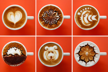 A combo picture shows artistic cappuccinos, realized by a teacher of the Mixology Academy Bartendering School during a lesson, in Rome