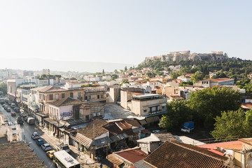 The cityscape of Athens with Parthenon on background