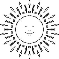 Joyful sun mandala in black and white