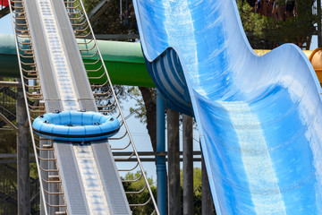 water slides in the water park