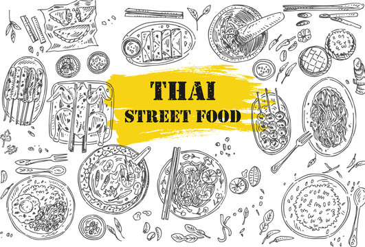 Thai food flyer design. Linear graphic. Vector illustration. Engraved style.