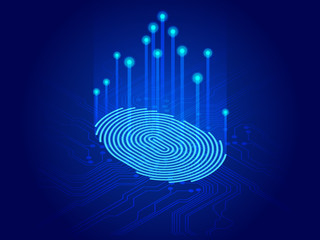 Isometric digital modern identify and measuring the bright fingerprint on the digital surface. Future of security, password control through fingerprints in immersive technology future and cybernetic - fototapety na wymiar