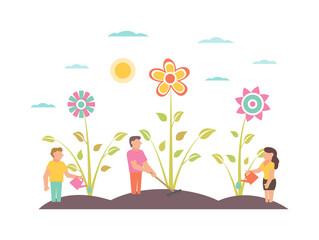 Garden Illustration with flowers Gardeners growing plants