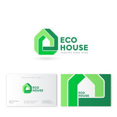 Eco House logo. Real Estate emblem. Innovation technology of building. Construction, property company emblem. Business card. Impossible figure like a house.