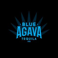 Tequila emblem. Blue Agave Tequila logo. Blue vintage letters and agave plant on dark background.