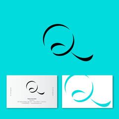 Q monogram. Q letter. Q shadow of ribbon logo. Q letter as azure ribbon with dark shadow.  Monochrome option.