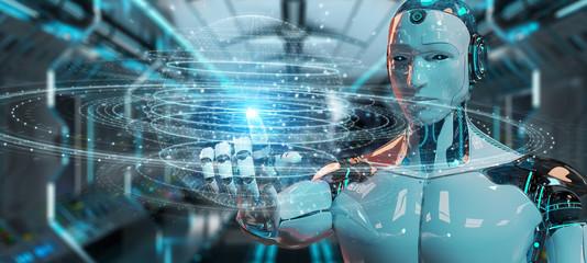 White robot using digital sphere connection hologram 3D rendering