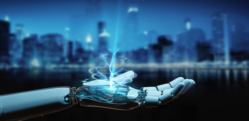 White cyborg opening his hand 3D rendering