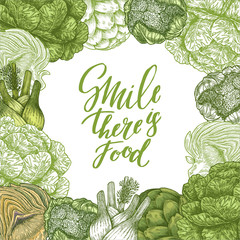 Healthy food design template. Green food illustration. Linear graphic. Vector illustration