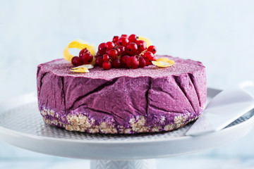 raw vegan cake from cashew nuts and blueberries. healthy sweets. milk , flour and  gluten free. on a marble table